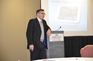 Aaron VandeLinde (School Trust Land Administrator for the Minnesota Department of Natural Resources) presented on update on the School Trust Lands.