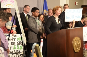 Forest Lake Area teacher Allision Whittlef made a passionate plea to the Legislature to adequately fund public schools.