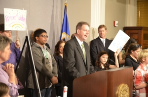 MSBA President Kevin Donovan called on the Legislature to increase funding for education during Monday's press conference.