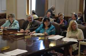 Senate Education Committee members (from left to right) Sen. Vicki Jensen, Sen. Greg Clausen, Sen. Susan Kent and Sen. Karin Housley heard from nearly 30 testifiers Wednesday.